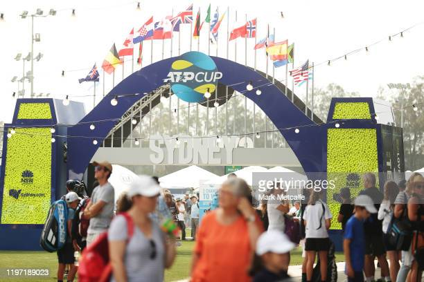 Crowds arrive ahead of play during day one of the 2020 ATP Cup Group Stage at Ken Rosewall Arena on January 03 2020 in Sydney Australia