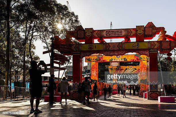 Crowds arrive for the Chinese New Year Lantern Festival at Tumbalong Park on February 12 2016 in Sydney Australia The lighting of lanterns is a...