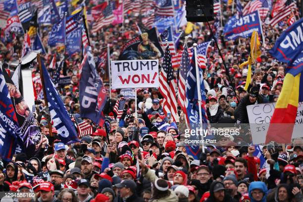 "Crowds arrive for the ""Stop the Steal"" rally on January 06, 2021 in Washington, DC. Trump supporters gathered in the nation's capital today to..."