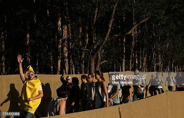 Crowds arrive onsite for day 1 of the 2013 Splendour In The Grass Festival on July 26 2013 in Byron Bay Australia