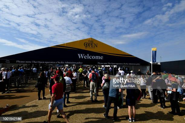 Crowds arrive to attend round one of the 147th Open Championship at Carnoustie Golf Club on July 19 2018 in Carnoustie Scotland