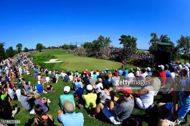 Crowds as seen on the 5th hole during the final round of The Barclays at Liberty National Golf Club on August 25 2013 in Jersey City New Jersey