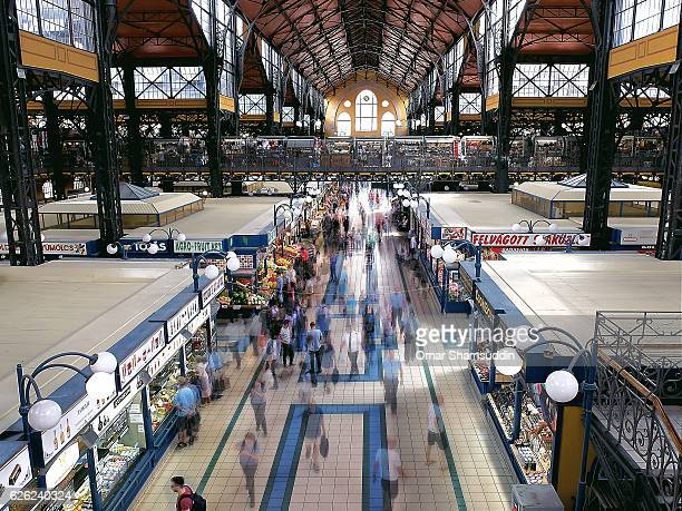 crowds at central market hall, budapest - omar shamsuddin stock pictures, royalty-free photos & images