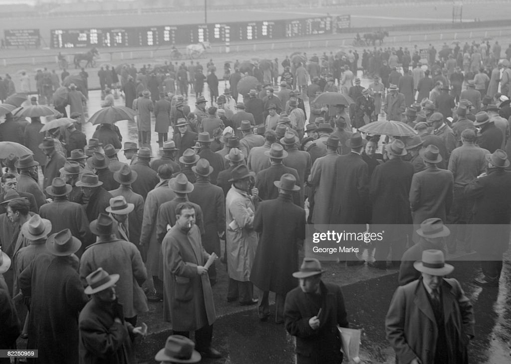 Crowds at horse race : Stock Photo