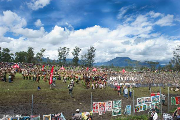 Crowds at Mt Hagen Show mass Singsing in Western Highlands Papua New Guinea