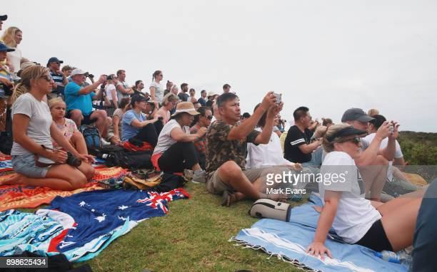 Crowds at North Head watch the start during the 2017 Sydney to Hobart on December 26 2017 in Sydney Australia