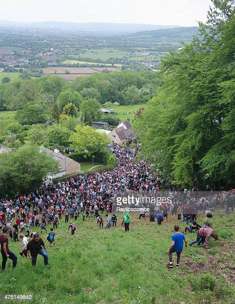Crowds at the 2015 'Cheese Rolling' held in the Cotswolds