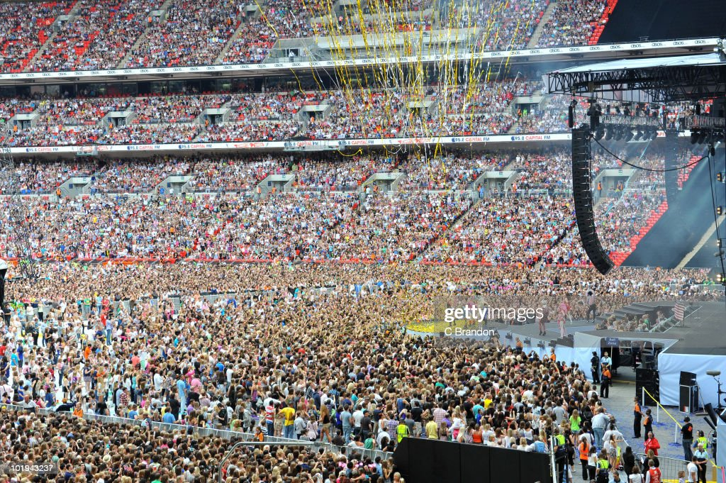 Crowds at the Capital FM Summertime Ball at Wembley Stadium on June 6, 2010 in London, England.