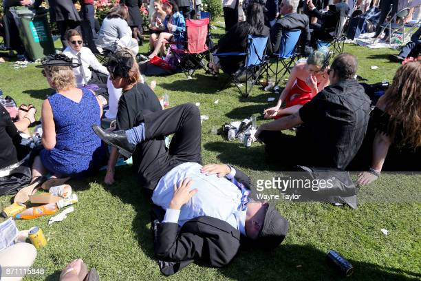 Crowds at the end of the day on Melbourne Cup Day at Flemington Racecourse on November 7 2017 in Melbourne Australia
