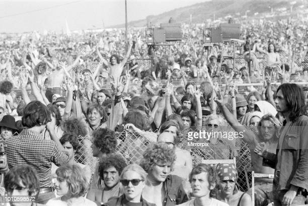 Crowds at the Isle of Wight pop festival 30th August 1970