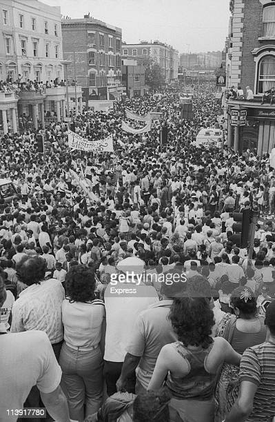 Crowds at the Notting Hill Carnival, London, 28th August 1984.