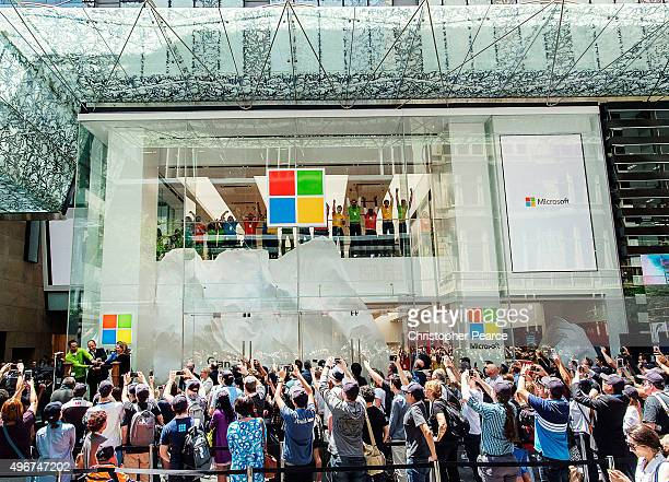 Crowds at the opening of Microsoft's first Australian store at Westfield Sydney on November 12 2015 in Sydney Australia It is the first flagship...