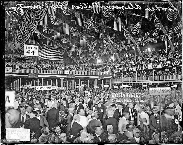 Crowds at the Republican National Convention inside the Coliseum Chicago Illinois circa June 812 1920 The Coliseum was located at 1513 South Wabash...