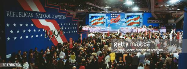 crowds at the republican national convention of 1996 - republican national convention stock pictures, royalty-free photos & images
