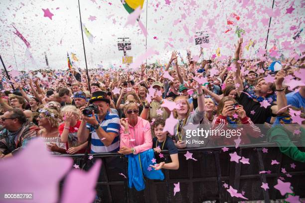 Crowds attend Katy Perry on the Pyramid stage on day 3 of the Glastonbury Festival 2017 at Worthy Farm Pilton on June 24 2017 in Glastonbury England