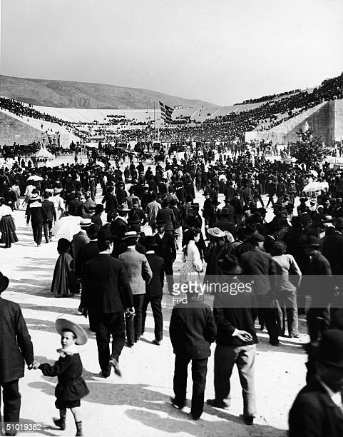 Crowds begin to arrive at the restored Olympic Stadium in Athens, Greece, early April, 1896. These Athens games were the first of the modern era of...