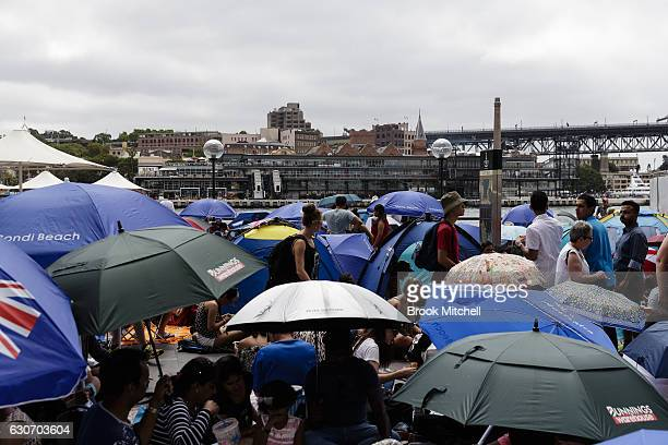Crowds build at Circular Quay on New Year's Eve December 31 2016 in Sydney Australia