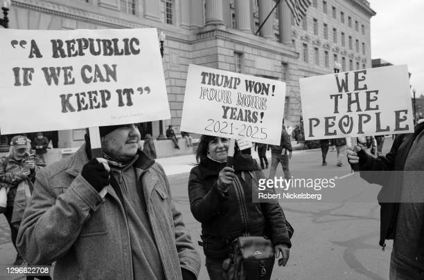 "Crowds carrying pro-President Donald Trump signs gather for the ""Stop the Steal"" rally on January 06, 2021 in Washington, DC. Trump supporters..."