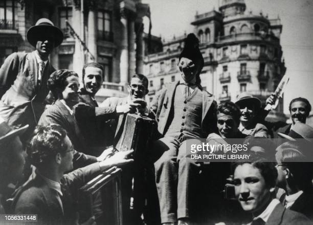 Crowds celebrating news of the proclamation of the Republic in the streets of Madrid Spain, 20th century.