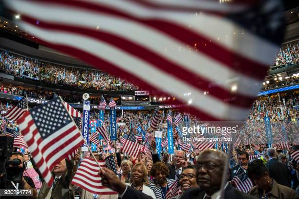 Crowds cheer as Hillary Clinton delivers her keynote address at the Democratic National Convention in Philadelphia on July 28, 2016.