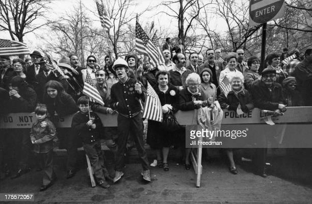 Crowds cheer at the 'Home With Honor' parade to mark the homecoming of American troops from Vietnam Central Park West New York City 1973