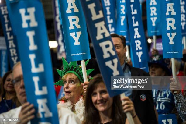 Crowds cheer during the Democratic National Convention in Philadelphia on July 28 2016