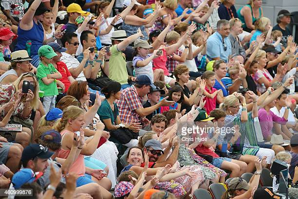Crowds cheer during the Pat Rafter Arena Spectacular during day one of the 2015 Brisbane International at Pat Rafter Arena on January 4 2015 in...