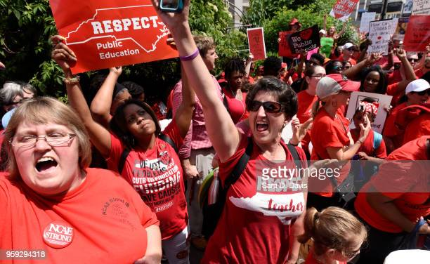 Crowds cheer during the Rally for Respect outside the North Carolina Legislative Building on May 16 2018 in Raleigh North Carolina Several North...