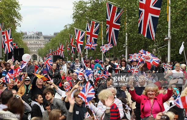 Crowds cheer on The Mall as they wait for The Diamond Jubilee Concert on June 4, 2012 in London, England. For only the second time in its history the...