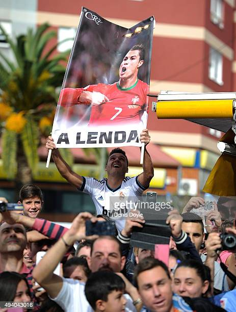 Crowds cheer the arrival of Real Madrid players at Balaidos stadium ahead of the La Liga match between Celta Vigo and Real Madrid at Estadio Balaidos...