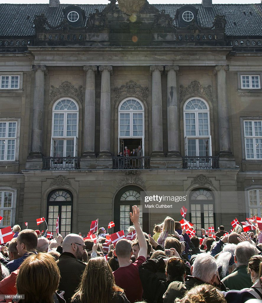 Crowds cheering as Queen Margrethe of Denmark, celebrates her 73rd Birthday with members of the Danish Royal Family, on the Balcony of Amalienborg Palace at Amalienborg Royal Palace on April 16, 2013 in Copenhagen, Denmark.