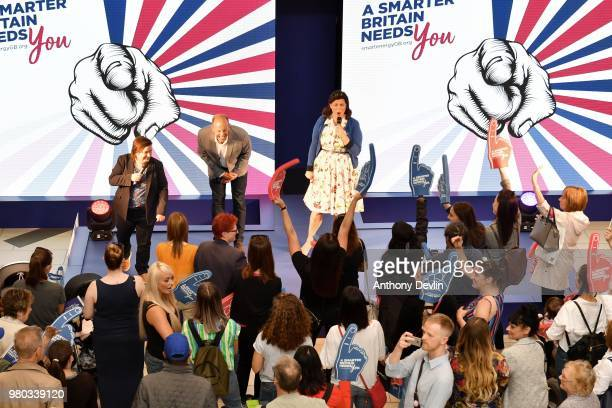 Crowds cheers as Susan Calman Phil Spencer and Kirstie Allsopp tour the UK this summer to inspire Britain's households to choose a smart meter...
