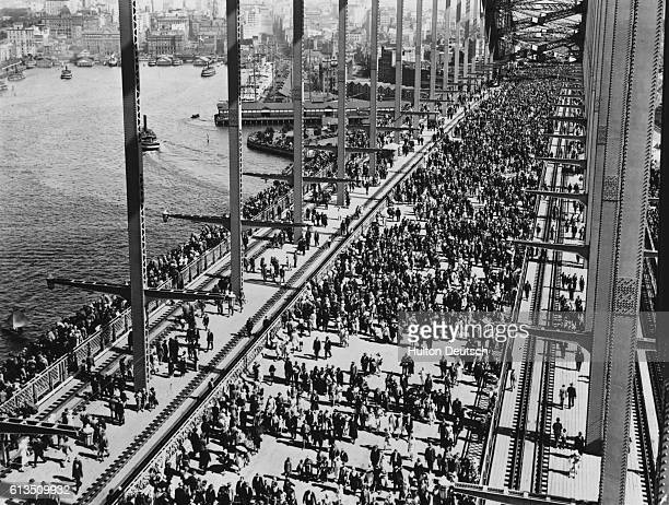 Crowds crossing Sydney Harbour Bridge for the opening celebration
