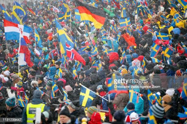 Crowds crowds during the IBU Biathlon World Championships Men's and Women's Mass Start on March 17, 2019 in Oestersund, Sweden.