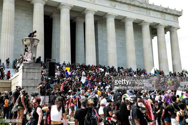 Crowds descend upon the steps of the Lincoln Memorial during the Commitment March on August 28, 2020 in Washington, DC. Rev. Al Sharpton and the...