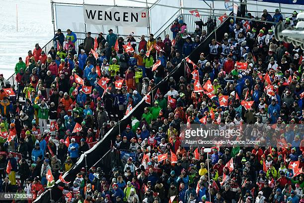 Crowds during the Audi FIS Alpine Ski World Cup Men's Slalom on January 15 2017 in Wengen Switzerland