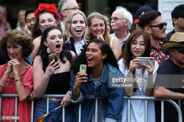 Crowds enjoy the show on February 17 2018 in Auckland New Zealand The Auckland Pride Parade is part of the annual Pride FestivaL promoting awareness...