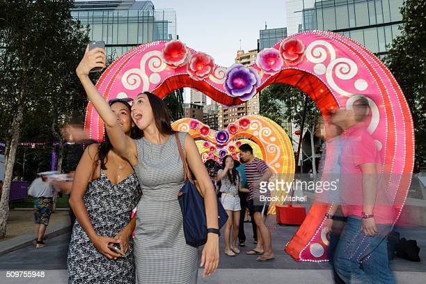 Crowds enjoying the Chinese New Year Lantern Festival at Tumbalong Park on February 12 2016 in Sydney Australia The lighting of lanterns is a...