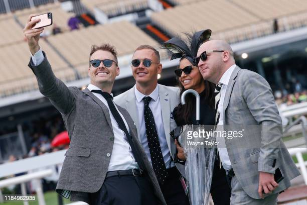 Crowds enjoying themselves on 2019 AAMI Victoria Derby Day at Flemington Racecourse on November 02, 2019 in Melbourne, Australia.