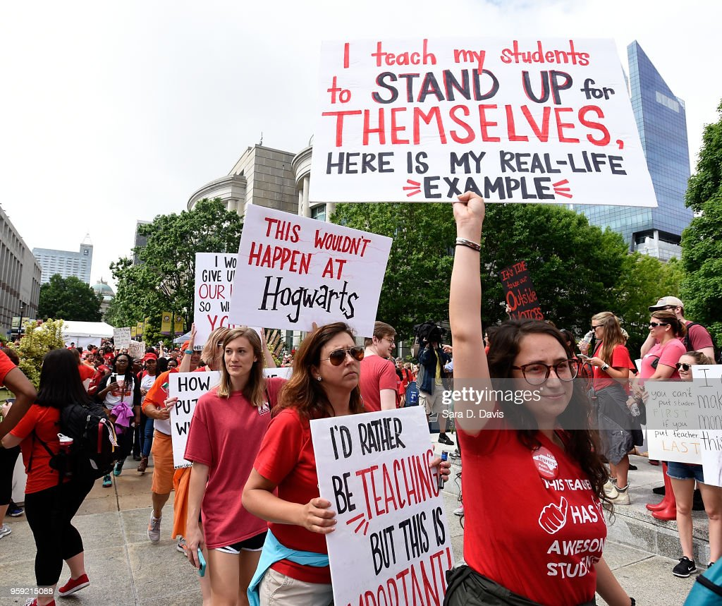 Crowds fill Bicentennial Plaza outside of the North Carolina Legislative Building during the March for Students and Rally for Respect on May 16, 2018 in Raleigh, North Carolina. Several North Carolina counties closed schools to allow teachers to march on the opening day of the General Assembly.
