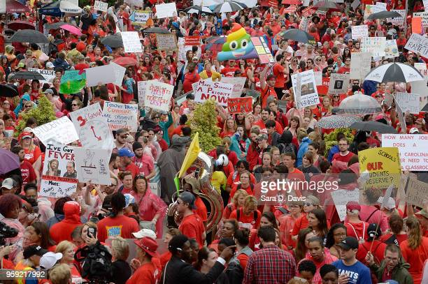Crowds fill Bicentennial Plaza outside of the North Carolina Legislative Building during the March for Students and Rally for Respect on May 16 2018...