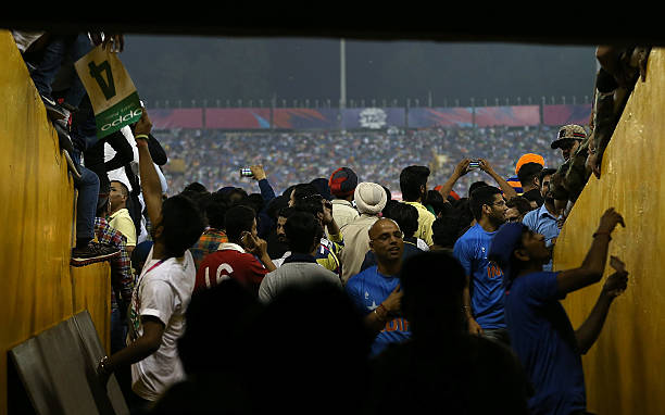 Crowds fill stadium entrances to view the game during the ICC World Twenty20 India 2016 Super 10s Group 2 match between India and Australia at IS...