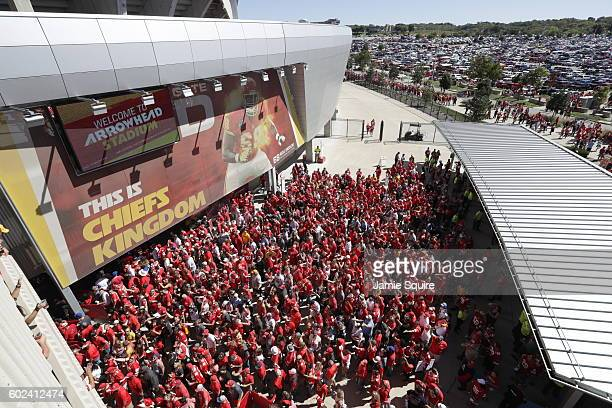 Crowds fill the concourse on the way to their seats before the game between the San Diego Chargers and Kansas City Chiefs at Arrowhead Stadium...