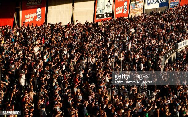 Crowds fill the legends stand during the 2017 AFLW Round 01 match between the Carlton Blues and the Collingwood Magpies at Ikon Park on February 3...
