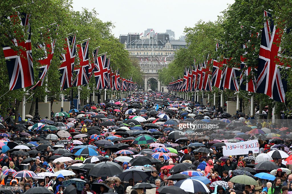 Crowds fill The Mall after the Diamond Jubilee carriage procession after the service of thanksgiving at St.Paul's Cathedral on the Mall on June 5, 2012 in London, England. For only the second time in its history the UK celebrates the Diamond Jubilee of a monarch. Her Majesty Queen Elizabeth II celebrates the 60th anniversary of her ascension to the throne. Thousands of wellwishers from around the world have flocked to London to witness the spectacle of the weekend's celebrations.