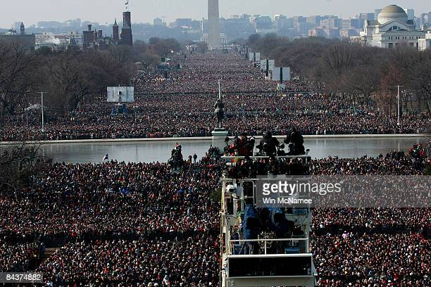 Crowds fill the National Mall during the inauguration of Barack Obama as the 44th President of the United States of America January 20 2009 in...