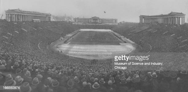 Crowds fill the Soldier Field Stadium in Grant Park at the Century of Progress International Exposition in Chicago Illinois The Century of Progress...