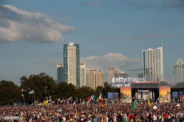 Crowds fill Zilker Park during the 2012 Austin City Limits Music Festival on October 12 2012 in Austin Texas