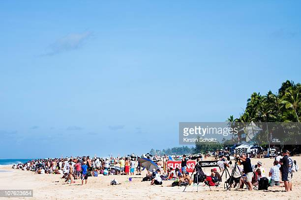 Crowds flocked to Banzai Pipeline to watch the world's best in action during the Billabong Pro Pipe Masters on December 15 2010 in Honolulu Hawaii