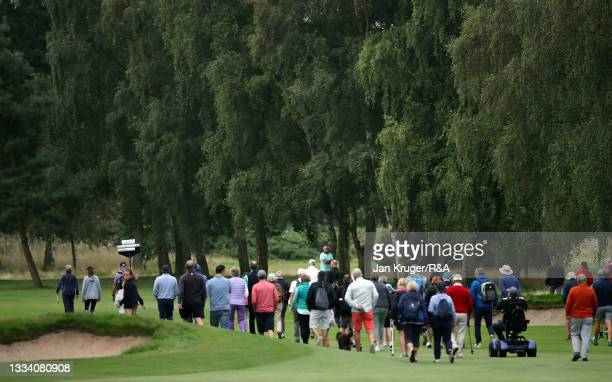 Crowds follow the action during the Final of the R&A Girls Amateur Championship at Fulford Golf Club on August 14, 2021 in York, England.